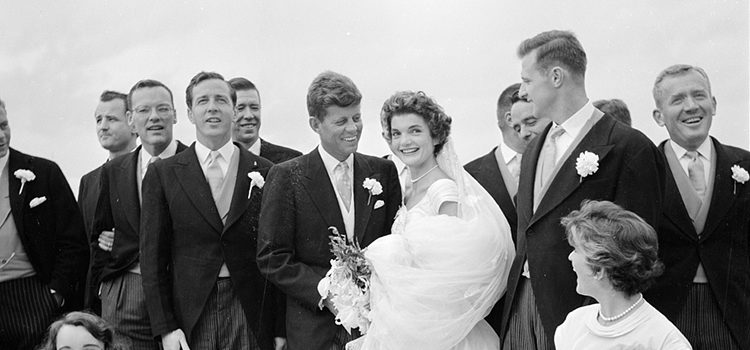 (September 12, 1953) John F. Kennedy, the 35th president of the United States, married Jacqueline Bouvier in Newport, Rhode Island. Seven years later, the couple became the youngest president and first lady in American history.