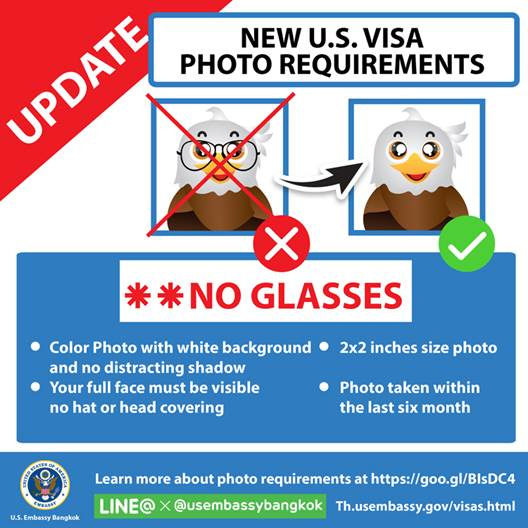 New U S  Visa Photo Requirements: No Glasses | U S  Embassy