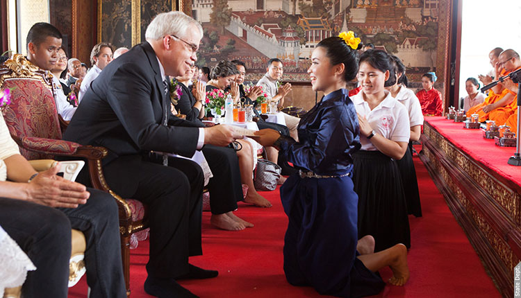 Deputy Chief of Mission Peter Haymond congratulated graduates of Wat Arun's Community Learning Center at a ceremony on March 31