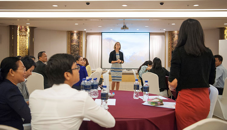 Megan Montgomery, English Language Fellow, leads a workshop during the Lower Mekong Initiative Professional Communications Skills for Leader (PCSL) conference. The workshop focuses on presentation skills and develops networking of the government officials between the member countries in the Lower Mekong region.